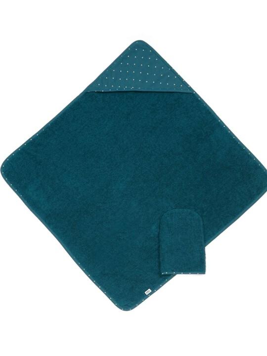 Hooded Towel & Mitt - Teal image number 1