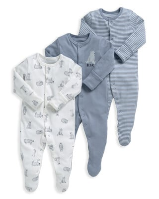 Bear Print Sleepsuits - 3 Pack