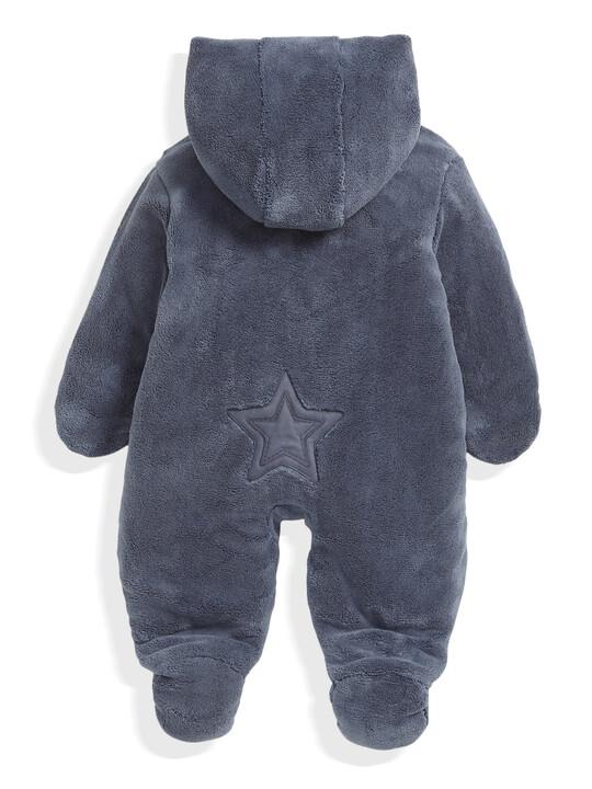 Soft Faux Fur Star Design Pramsuit Blue- 0-3 image number 4