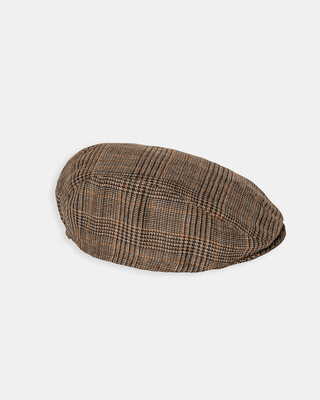Brown Check Flat Cap