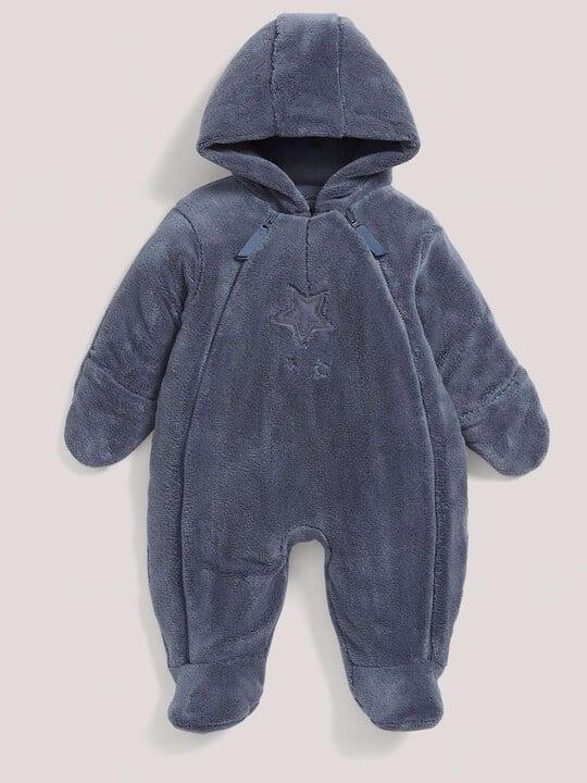 Soft Faux Fur Star Design Pramsuit Blue- 0-3 image number 2