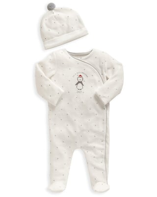 My 1st Christmas White All-In-One & Hat