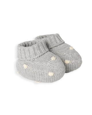Grey Knitted Spot Booties