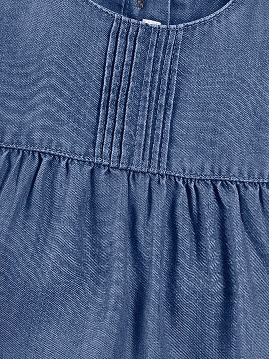 Blue Pin tuck Dress image number 6