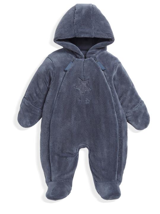 Soft Faux Fur Star Design Pramsuit Blue- 0-3 image number 1