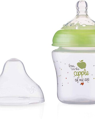 Nuby Little Moments Slow Flow SoftFlex Bottle - 180 ml,Green