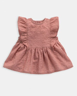 Pink Broderie Frill Blouse