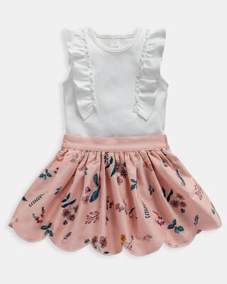 Floral Print Bodysuit & Skirt 2 Piece Set
