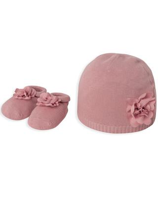 Pink Flower Hat & Bootie Set