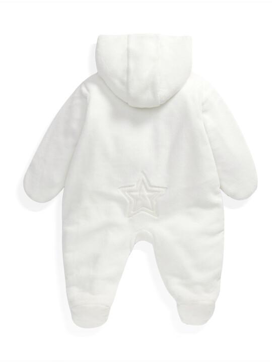 Soft Faux Fur Star Design Pramsuit Sand- 0-3 image number 6