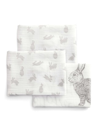 Large Muslin Squares (Pack of 3) - Welcome to the World - 90 x 90cm