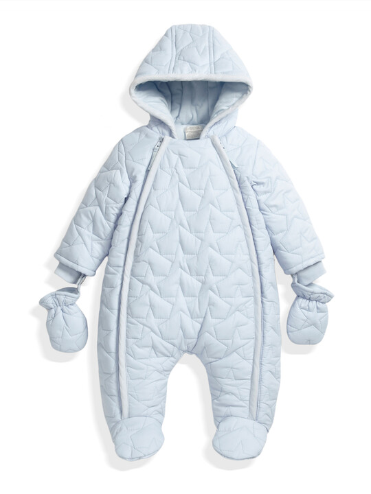 Quilted Pramsuit Blue- 0-3 image number 1