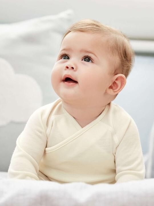 Merino Wool Wrap Top Cream- New Born image number 3