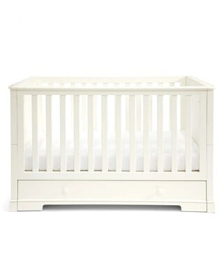 Oxford Wooden Cot & Toddler Bed with Storage - White
