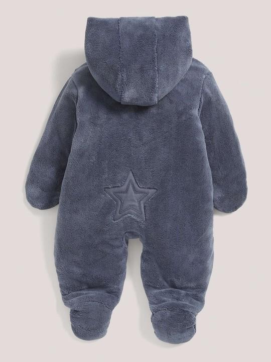 Soft Faux Fur Star Design Pramsuit Blue- 0-3 image number 3