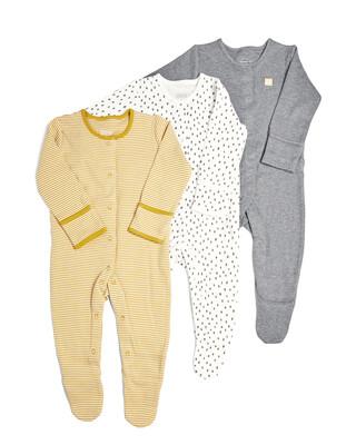 3 Pack of Stripe/Spot Sleepsuits