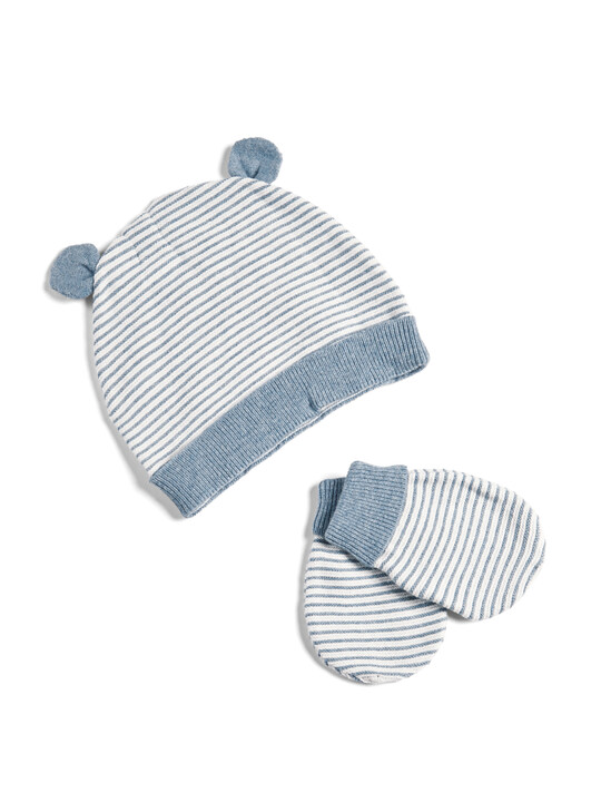 Knitted Stripe Hat and Mitts image number 1